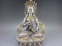 buddha statues - Vivid old Tibet silver handmade Buddha statue