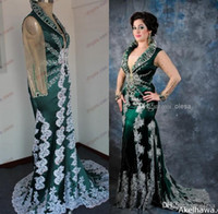 Cheap 2015 Real Photos Pageant New Hot Green Arabic Kaftan Evening Dress With Long Sleeves And Applique Lace Satin Abaya Dubai Prom Party Dresses