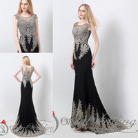 dresses in china - Formal Evening Gowns Cheap Mermaid Prom Dresses Plus Size Long Gold Beaded Chiffon Sheer Black Real Image In Stock Fashion China