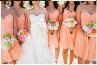 Wholesale 2017 Bridesmaid Dresses Cheap Sweetheart Low Back Chiffon Knee Length Zipper Ruched Summer Bridesmaid Dresses A Line