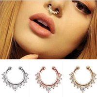 Wholesale Hot Sale Women Nose Hoop Nose Rings Fake Septum Clicker Non Piercing Hanger Clip On Jewelry Body Piercing Jewelry