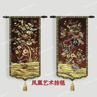 Wholesale Bohemian Classic style Birds and flowers Art tapestry soft fabric wall hangings a pair