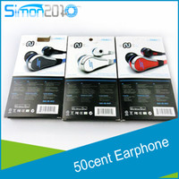 Wholesale 50 cent sms earphone wire high quality ear headphones cent wired earphone in ear with mic and mute button STREET by Cent earbud