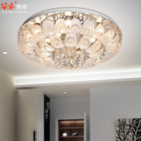 bedroom ceiling fixtures - Modern Round Crystal Chandeliers D80cm Flush Mount Ceiling Lamp E14 Led Stainless Steel Lustre Hanging Lights Fixtures Indoor Lighting