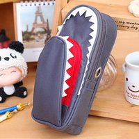 Cheap Wholesale-Free shipping South Korea stationery large capacity multi-functional pen bag Cartoon pen boxes Leather fashion pencil case