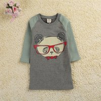 assorted girls fashion - Children Long Sweatershirt Cartoon Little Bear Printed Girls Overpull Fashion Assorted Colors Tops For Korean Kids Age K489