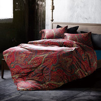 Wholesale Dropship Home Textile red floral print American Retro classic style bedding set bed sheet duvet cover king queen