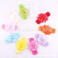 Wholesale Sunshine Baby Wholesale - Fashion Children Solid Crochet Headbands Sunshine Sweet Bow Headband Infant Hair Accessories Baby Headbands