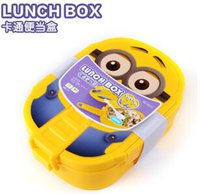 plastic bowl wholesale - 2015 New ml Kids Despicable Me Lunch Box Bento Case with Spoon Dinnerware Set Minions Bowl Children Cartoon Lunch box Christmas gift Hot