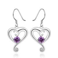 Wholesale Fashion Style Silver Earrings Dazzling Heart Purple Zircon Stud EARRINGS FOR WOMEN