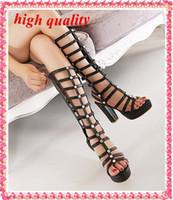 Cheap Summer sandals Open Toe High Thick Heels Knee Boots Rivets Heels