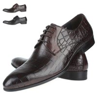 leather shoes italian men - 2015 New Fashion Genuine Leather Alligator Printed Formal Brand Man Italian Oxford Men s Dress Wedding Sneakers Shoes GLM191