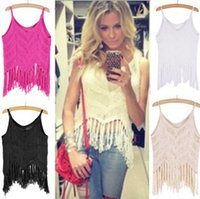 spaghetti strap tank top - 2015 New Summer Sexy Beach Hand Crocheted Women Crochet Knitting Openwork Halter Tassel Short Spaghetti Strap Tank Tops Camis Sweaters