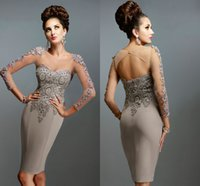 Wholesale 2016 New Arrival Cocktail Dresses Illusion Long Sleeve Applique Full Beaded Crystal Scoop Sexy Open Back Sheer Neck Party Dress