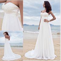 Wholesale 2015 Empire Beach Wedding Dresses Sweetheart A Line Sleeveless Backless Court Train Pregnant Wedding Dresses Chiffon Applique Bridal Gwons