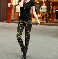 adapt m - Hot spring camouflage pants Slim thin waist pencil pants casual Army Green sexy fashion adapted to a variety of places