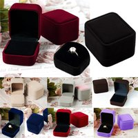 Wholesale Hot Sales Jewelry Boxes Earrings Ring Packaging Display Storage Case Velvet Square Gift Colors IX201