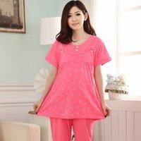 Wholesale Summer cotton pajamas cartoon cute pajamas pregnant women plus fertilizer XL pregnant pajamas
