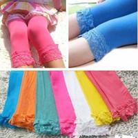 Cheap 2016 New Kids Baby Lace Leggings Candy Multi Color Tight Pants Summer Velvet Leggings Children Party Dress Pants Children Clothes ZJ16-L01