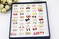 Stud Women's Alloy Cute Enamel Stud Earring Mix Design Anamil Flower Symbol Cheap Earrings For Girl 50pairs Box