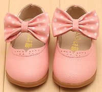 Wholesale Girls White Dress Shoes Models Bowknot Princess Shoes Leather Korean Students Color Baby Leather Shoes for Children SD934