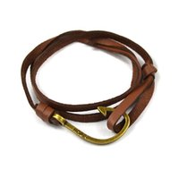 Wholesale Trendy Miansai Nautic Leather Fish Hook Bracelets For Men Women Sea Hook Nautical Bracelets Bangles Paracord Pulseras Mujer