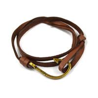 Wholesale Trendy Miansai Nautic Leather Fish Hook Bracelets For Men Women Sea Hook Nautical Bracelets Bangles Paracord Pulseras Mujer