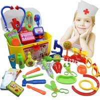 Wholesale Hot doctor toys set doutora brinquedos children simulation box medicine playsets toy play house stethoscope injections