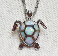 animal twist - Lovely Sea Turtle White Blue Fire Opal Pendant Necklace For Lady