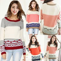 Cheap Woman Ladies Patchwork Contrast Color Oversized Pullovers Sweater Knitwear Tops Jumper Blouse Plus Size Free Shipping
