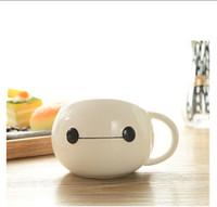 big handle coffee mugs - Big Hero Bay Max Anime Cute Ceramics Mug Cartoon Round Cup Milk Coffee Mug White Elegant Handle Drinkware Kids Gift Present