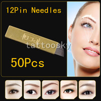 Wholesale Top Sell Copper Curved Blade Pin PCD Permanent Makeup Blades Needles D Eyebrow Embroidery Manual Tattoo Pen Machine Microblading p