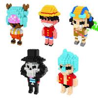Wholesale Anime One Piece Figure Toy Building Block DIY Mini Model Diamond Block style Luffy Franky Usopp Brook Tony action figure