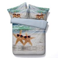 beach quilt cover - Beach bedding sets starfish quilt duvet cover bedspread bed sheet linen doona twin full queen california king size double single