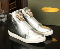 Wholesale Fashion Genuine Leather hight cut casual shoes sneakers men eur size