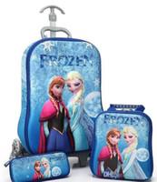Cheap New Fashion 3 Wheels 3D Trolley School Pull rod box set, children frozen EVA boy Trolley Bags +Lunch Box +pencil Case 3 pcs 1 set