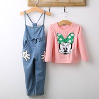 bib overalls girl - Girls Baby Minnie Mouse Outfits Tops T shirt Bib Denim Pants Overalls Set Costume Clothes Y