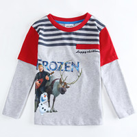 frozen tshirt - New Children Boys Long Sleeve Tshirts Kids Clothing Froze Elsa Anna Olaf Stripe Tshirt Childs Cartoon Snow Queen Cotton Tops H1800