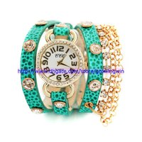 Wholesale Fashion women Leopard leather bracelet watches ladies retro vintage diamond crystal dress chain quartz watches for women ladies