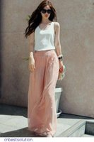 Cheap Women Pluse Size Trousers High Waist Wide Chiffon Harem Wide leg palazzo pants LC79502 calcas Feminino Pink Black Blue