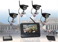 Wholesale 32GB digital inch TFT LCD wireless diy cctv system kit m transmitting CCTV Camera CH quad DVR security system
