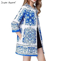 apparel trenches - Simplee Apparel porcelain print ethnic women long trench coat Autumn fashion cape cloak Female duster coat windbreaker overcoat