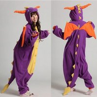 adult sleeper pajamas - Hot Sale Adult cartoon animals sleeper Cosplay purple dragon Couples dress that occupy the home Performance clothing pajamas