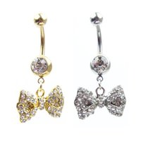 Wholesale Pendant Full Gem Bowknot Gold Plate And Steel Navel Ring Belly Ring Body Piercing Jewelry