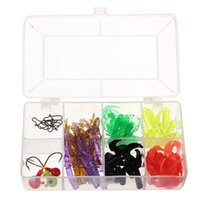 angler box - 59 Artificial Fishing Soft Silicone Lures Box Baits Hook Jig Head Swivel Worms Grub C4 Perfect For Angler
