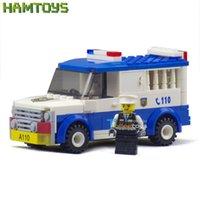 Cheap Police Series Car Patrol Wagon Children Enlighten Assembled Plastic Building Blocks Toy Bricks Set Compatible with Lego #BLP