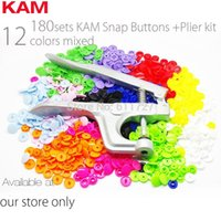 Wholesale 12 Colors Mixed Sets KAM T5 mm Plastic Snap Buttons Snap Pliers For Fastener Used For Diaper DIY Kit Mixing