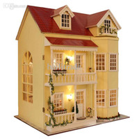 Wholesale Fairy Homeland Large scale DIY Doll house D Miniature Lights Wood Handmade kits Building model Play house toy Home Decoration