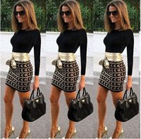 Cheap OL Ladies 2015 Fashion Vestidos Casual Slim Fit Winter Dress Long Sleeve Contrast Bodycon Bandage Dress Celebrity Women Dresses