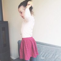 Wholesale 73 cm Winter Autumn Toddler Baby Girls Knit Jacquard Pleated Skirt Infant Bust Dress Cute Quality Blue Rose Red